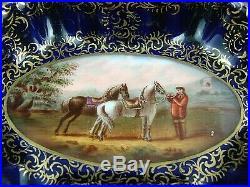 Antique Vienna Porcelain Hand Painted Trinket Dish Equestrian / Horses