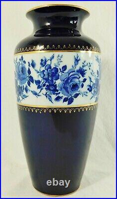 Antique/Vtg 11 Echt Cobalt Blue 24K Gold ROSE KPM Germany Porcelain Flower Vase