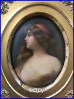 Antique WAGNER KPM Porcelain Plaque Painting Beautiful Girl & Gold Gilt Frame