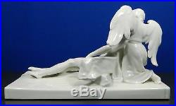 Antique White KPM Porcelain Figurine Statue Set of Jesus and Angel Germany