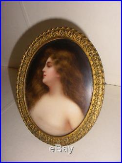 Antique miniature porcelain KPM sign Wagner woman portrait painting Erbluth Asti