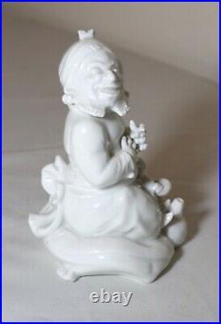Antique original German KPM white porcelain Arabian hookah man figurine statue