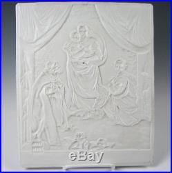 Antique signed KPM Porcelain Lithophane of Madonna and Child 11&1/4 by 9&1/4