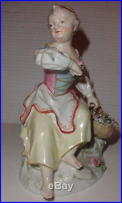 Antique signed KPM porcelain woman figurine figure with flowers basket
