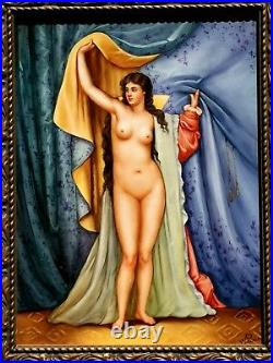 Beautiful Antique German Kpm Porcelain Huge Plaque Nude Signed W. Petresece