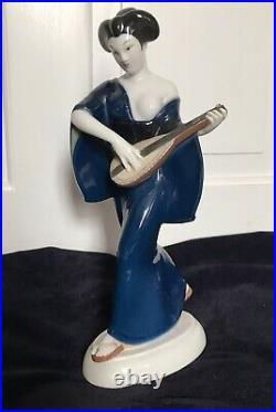 Beautiful Antique KPM Berlin Porcelain Figure of Japanese Girl by Amberg