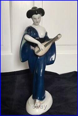 Beautiful Antique KPM Berlin Porcelain Figure of Japanese Girl by Amberg