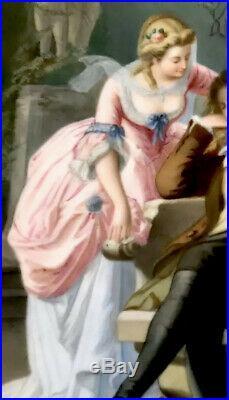 Beautiful Antique porcelain Love Scene 100% Hand-Painted Gorgeous