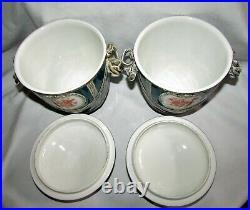 Beautiful Pair of Antique KPM German Porcelain Lidded Urns Cherubs & Flowers