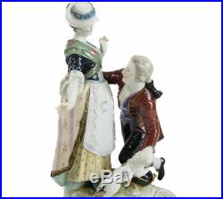 Berlin KPM Hand Painted Porcelain Figural Group Figurine Man, Woman, & Cat