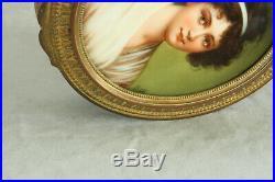 Berlin Kpm Style Porcelain Portrait Plaque In Bronze Dore Box 100% Hand Painted