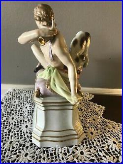 Berlin's K. P. M Hand Painted Reclining Male & Dog Porcelain Figurine c. 1870-1945