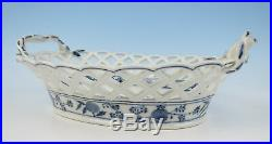 C. 1800 KPM Berlin Blue Onion Reticulated Basket Antique German Porcelain Bowl