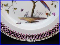 C1790, FINE ANTIQUE 18thC BERLIN HAND PAINTED RETICULATED PORCELAIN BIRD PLATE