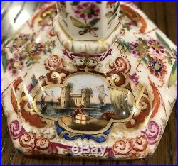Charming KPM 19th Century Porcelain Candlestick, (hand Painted Ships & Flowers)