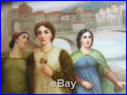 Dante and Beatrice Antique Porcelain KPM Plaque After Henry Holiday Germany 1900