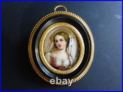 Delicate Antique Porcelain Plaque Lady KPM Medallion Ormolu Frame 1860 2 3/4
