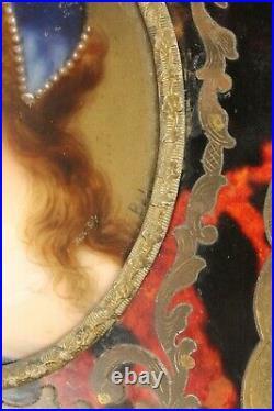 Elegant Antique Signed Oval Porcelain Portrait of Ann Boleyn in Ornate 5½ Frame
