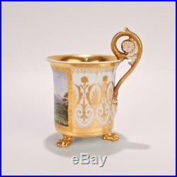 Exceptional Antique KPM Royal Berlin Topographical Porcelain Cup Chateau PC