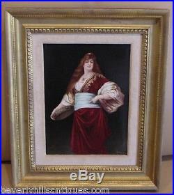 Exquisite Antique KPM Porcelain Plaque Artist Signed Ullmann Woman & Tambourine