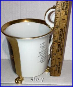 Exquisite Antique KPM hand painted Porcelain cup Medieval Knight 3 Lion Feet
