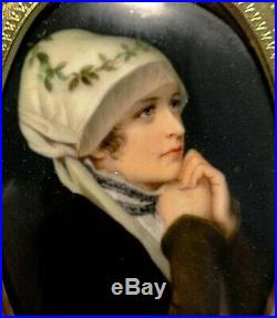 F. A. Kaulbach Antique Hand Painted KPM Style Porcelain Miniature Portrait Woman