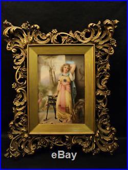 Fabulous & Rare Signed Kpm Portrait Painting On Porcelain, Rococo Frame