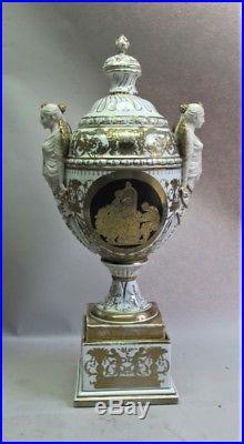 Fine 22.5 Signed KPM GERMAN Covered Porcelain Urns on Stands c. 1890 antique