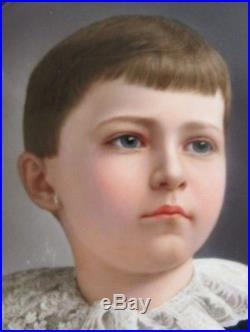 Fine Antique 10 SIGNED KPM Enamel on Porcelain Painting of Young Boy c. 1890s