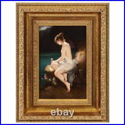 Fine Quality Antique Berlin KPM Hand Painted Porcelain Plaque Psyche