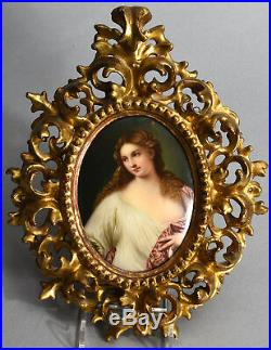 Flora after Titian Framed Antique Painting on Firenze Porcelain KPM Quality