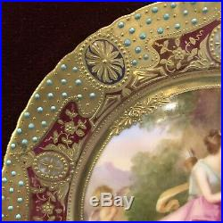 Framed Antique 19th Century Hand Painted Porcelain KPM Plate with Gilt Details