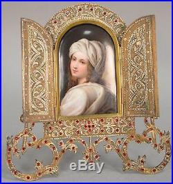 German KPM Style Miniature Porcelain Portrait Jeweled Brass Frame