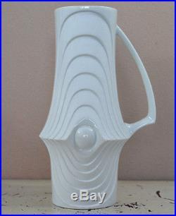 German Mid Century white Bisque OP ART Vase SWING Royal KPM 9 783