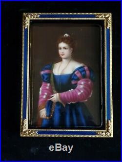 Germanic Porcelain Plaque of Renaissance Woman in Lavender and Royal Blue Dress