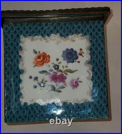 Germany posibly KPM Antique Porcelain Large Trinket Box Lid with metal mounting