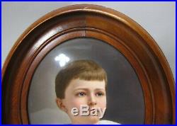 Gorgeous Large 9.5 KPM Hand-Painted Plaque of Boy c. 1880 German porcelain