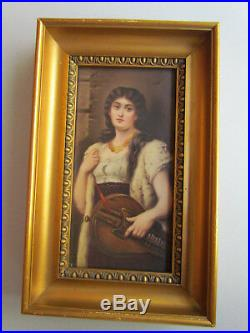 Gypsy Girl Antique Porcelain KPM Meissen Plaque Germany c. 1880