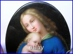 Hand Painted Kpm Porcelain Plaque Sistine Madonna 6 1/8 X 4 3/8- Very Nice