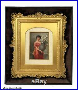 Hand painted 19 century porcelain plaque KPM style Signed By Wagner