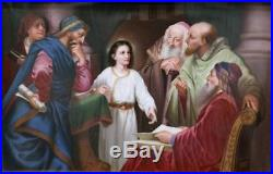 KPM Antique Hand Painted Porcelain Berlin Plaque Jesus in the Temple late 19th