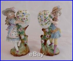 KPM Antique Porcelain Figurines Children Holding Egg Cups