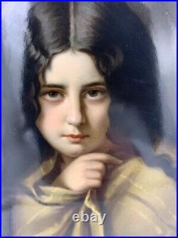 KPM Antique Porcelain Portrait Painting Girl with Shawl