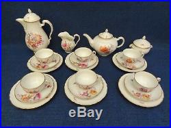 KPM BERLIN PORCELAIN COFFEE SET 22 pcs decorated with Flowers, Butterflies