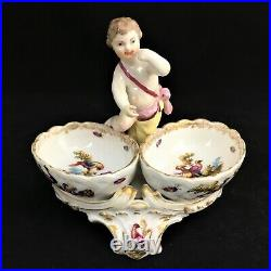 KPM Berlin Double Salt Figurine Hand Painted Porcelain Cherub Antique LkNew