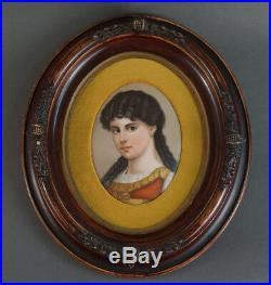 KPM Berlin porcelain oval plaque portrait of a young girl wood frame victorian