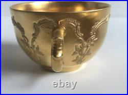 KPM Berlin porcelain pottery CupSaucer Tsunbun gold relief Early 1900s antique