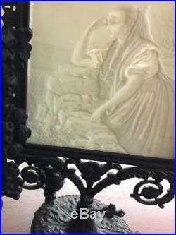 KPM Bisque Porcelain Lithophane Candleholder, withimpressed KPM & Sceptre Mark