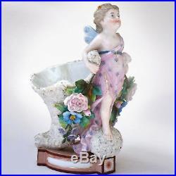 KPM Cornucopia Vase Fairy Girl Figurine Antique German Porcelain 8 in