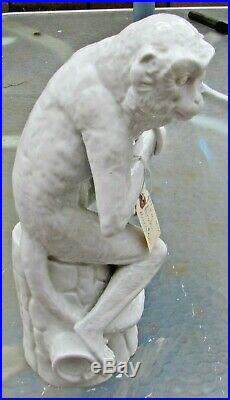 KPM Germany 1950 Seated Monkey with Banana White Blanc D'Chine Porcelain figurine